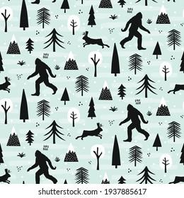Bigfoot and jackalope seamless pattern design set in winter outdoor wilderness