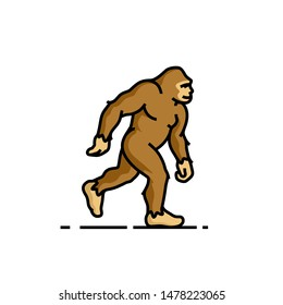 Bigfoot line icon. Sasquatch symbol. Yeti sign. Vector illustration.