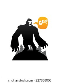 bigfoot monster black icon isolated illustration vector