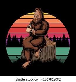 Bigfoot relaxing coffee sunset retro vector illustration for your company or brand