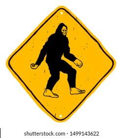 Bigfoot road sign - yellow diamond shape warning hand drawn sign with yeti - beware of sasquatch