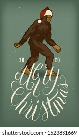 Bigfoot in Santa Claus hat illustration with a Merry Christmas elegant calligraphy - vector illustration