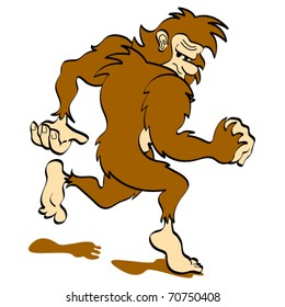 Bigfoot or Sasquatch looking over his shoulder while walking or running clip art in vector format.