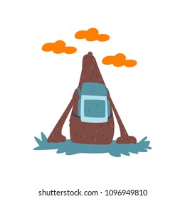 Bigfoot sitting on the ground with backpack and looking at the sky, mythical creature cartoon character vector Illustration on a white background