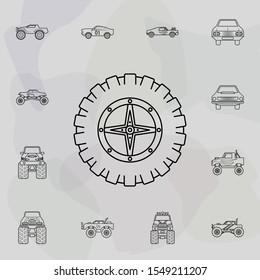 Bigfoot tire icon. Bigfoot car icons universal set for web and mobile