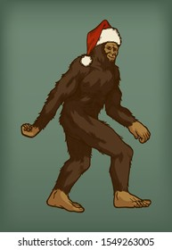 Bigfoot wearing Santa Claus hat walking isolated vector illustration