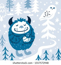 Bigfoot or yeti holds the bird in his hands. Vector illustration