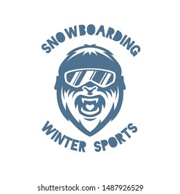 Bigfoot. Yeti. Winter sport modern style vector mascot