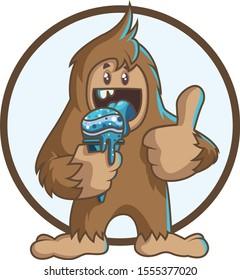 Bigfoot/yeti eating ice cream vector illustration isolated on white background
