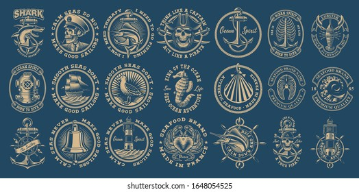 The biggest bundle of vintage nautical vectors on the dark background. Perfect for the shirt designs and many other. Text is on the separate group.