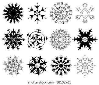 Biggest collection of vector snowflakes in different shape