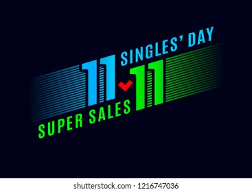 Biggest Shopping event in World Singles Day. Online shopping with discount on 11/11. Cool design for banner, poster or flyer. Super sales online. Special offer. Vector illustration.