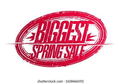 Biggest spring sale stamp imprint, vector illustration