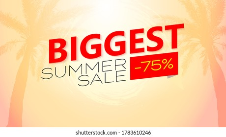 Biggest Summer sale. Vector poster. Tropical sunset and palms tree on background. Huge discounts. Template for your business.