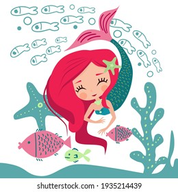 Big-headed cute little mermaid with fish and seaweed and a starfish in cartoon style on a white background. Children's card