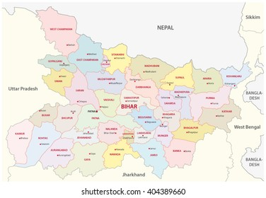 bihar district map, India