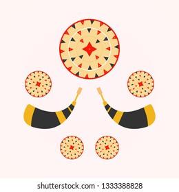 Bihu festival. Bihu festival icon. Assamese traditional japi. Assamese culture.