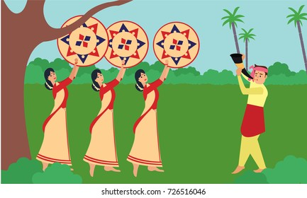 Bihu man blowing on a pepa while Bihu woman dances to his tune holding a jaapi. Man and woman performing Bihu folk dance of Assam. Indian cultural festival celebration concept illustration vector.