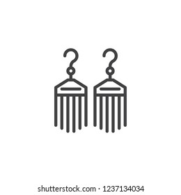 Bijouterie earrings outline icon. linear style sign for mobile concept and web design. Female jewelry simple line vector icon. Symbol, logo illustration. Pixel perfect vector graphics