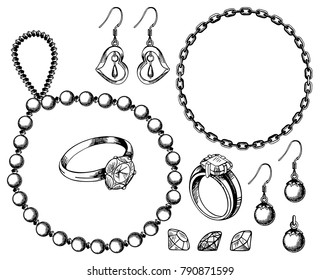 Bijouterie set vector ink hand drawn illustration isolated on white background. Ring, necklace, earrings, pendant, bracelet doodle jewelry collection.
