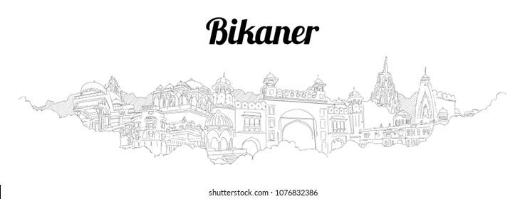 BIKANER CITY city vector panoramic hand drawing illustration
