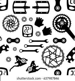 Bike. Bicycle parts. Seamless pattern.