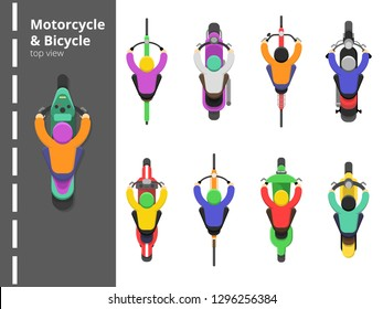 Bike bicycles top. Overhead topping view motorbike fast driving young male driver vector flat pictures