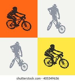 Bike and bikers man illustration. Creative, luxury gradient color style image. Print label, banner, icon, book, cover, card, website, web, greeting, invitation. Street art scratch design