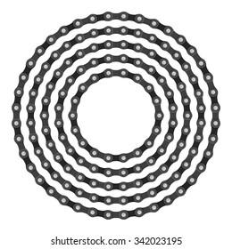 Bike chain circle on a white background.