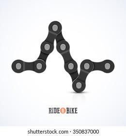 Bike chain ECG symbol, ride a bike poster. Vector.