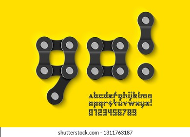 Bike chain font, alphabet letters and numbers vector illustration