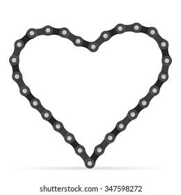 Bike chain heart on a white background.