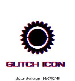 Bike chainring, chainwheel icon flat. Simple pictogram - Glitch effect. Vector illustration symbol