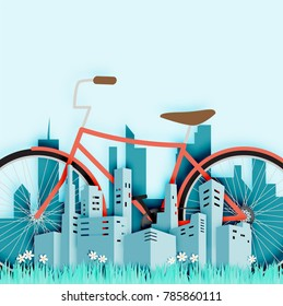 Bike in the city with paper cut style vector illustration