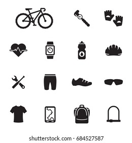 Bike and cycling accessories icons