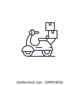 Bike delivery linear icon concept. Bike delivery line vector sign, symbol, illustration.