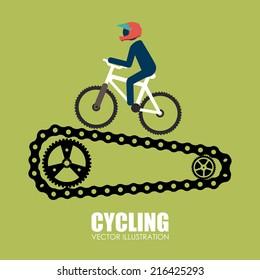 Bike design over green background, vector illustration