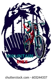 Bike for extreme downhill.Mountains and coniferous trees