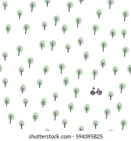 Bike in the forest. Seamless stylish minimalistic pattern