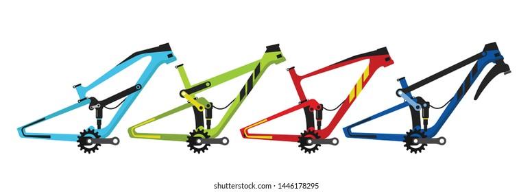 Bike frame vector, full suspension frame vector