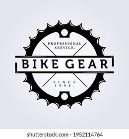 bike gear chain bicycle logo icon symbol label sign vector illustration design , vintage simple logo