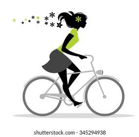 Bike Girl Silhouette - Vector illustration