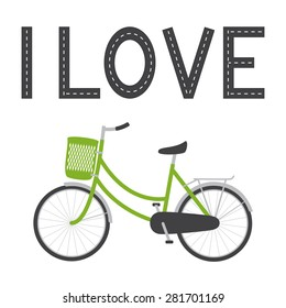Bike with green colored female frame, green pannier on handlebar, rear rack, big dark grey saddle, big wheels with mudguards and bike lane in the shape of I love lettering above it isolated on white