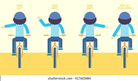 bike hand signal. Safety. Transit laws. Traffic rules