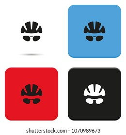 Bike helmet and glasses flat vector icon.