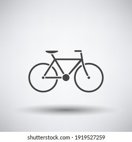 Bike Icon. Dark Gray on Gray Background With Round Shadow. Vector Illustration.