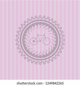 bike icon inside retro pink emblem
