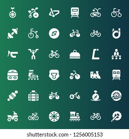 bike icon set. Collection of 36 filled bike icons included Crank arm, Bike, Train, Transport, Bicycle, Quad, Unicycle, Tricycle, Damper, Boxing helmet, Roller skate, Trainer, Gym