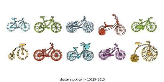 Bike icon set. Color outline set of bike vector icons for web design isolated on white background