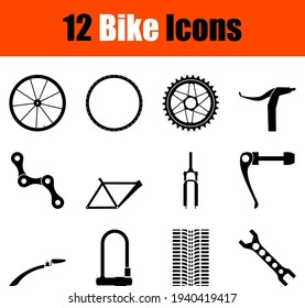 Bike Icon Set. Cute and Smooth Glyph Design. Fully editable vector illustration. Text expanded.